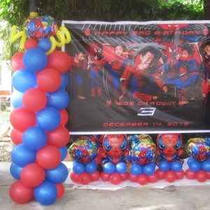 Spiderman Theme Balloon Centerpieces