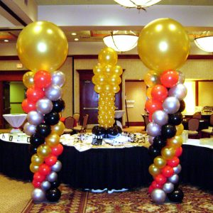 Golden Ball Balloon Centerpiece