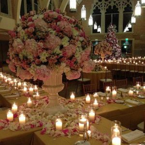 candles and flower setup