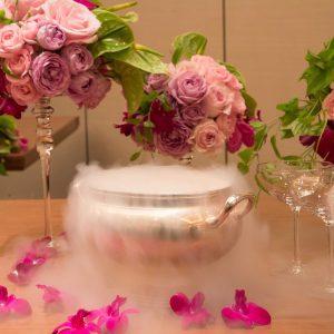 fresh pink wedding arrangement
