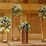 gold & white floral arrangements
