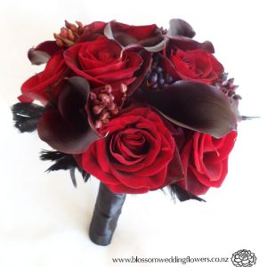 red & black rose wedding bouquet