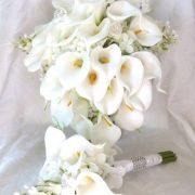 White Calla lily lilacs and hydrangea bouquet