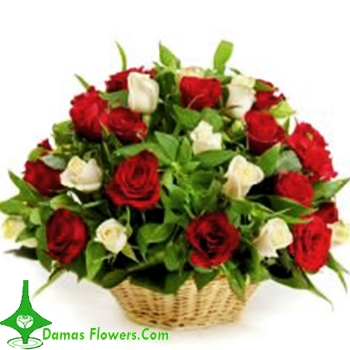 Red & White Flower Basket